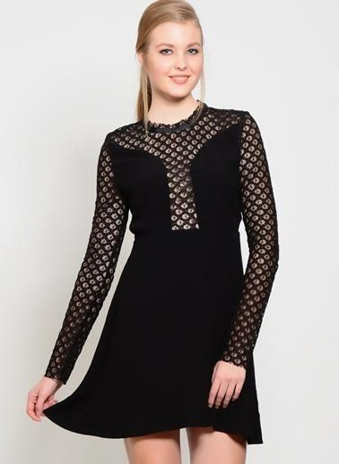 Foxiedox Dantelli Mini Elbise Siyah